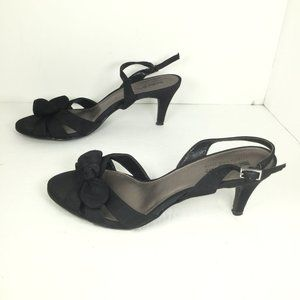 Coach and Four Open Toe Heels Black Size 8